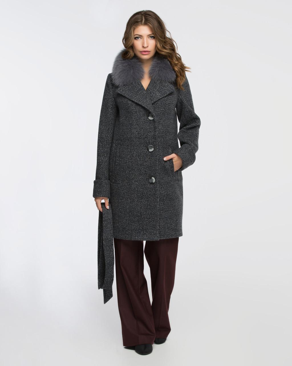Женское зимнее шерстяное пальто с меховым воротником