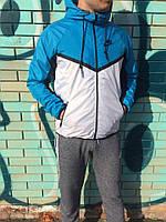 Windrunner Nike (Ветровка, виндраннер Найк), голубо-белый с V-образной вставкой