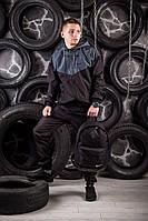 Windrunner Nike (Ветровка, виндраннер Найк). серо-черная