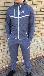 Спортивный костюм Nike (Найк), ТОП петля меланж с белыми вставками