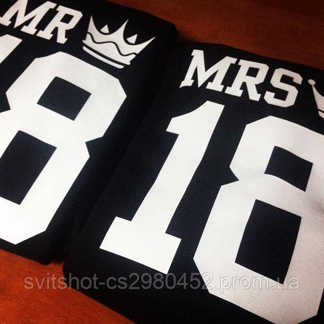 Именные свитшоты Mr и Mrs c короной