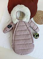 """Зимний Конверт-комбинезон c ручками для новорожденных  """"Gingle bells"""" от 0-6 мес, капучино"""