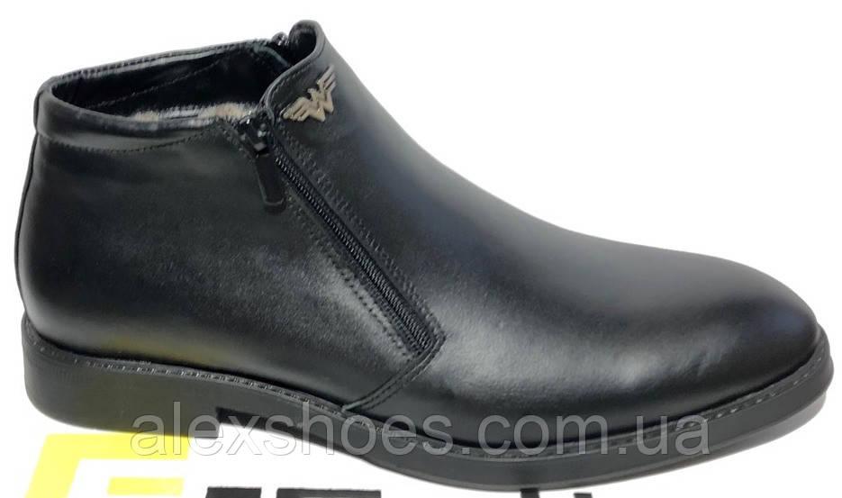 Ботинки мужские зима из натуральной кожи черного цвета от производителя модель МВ-21