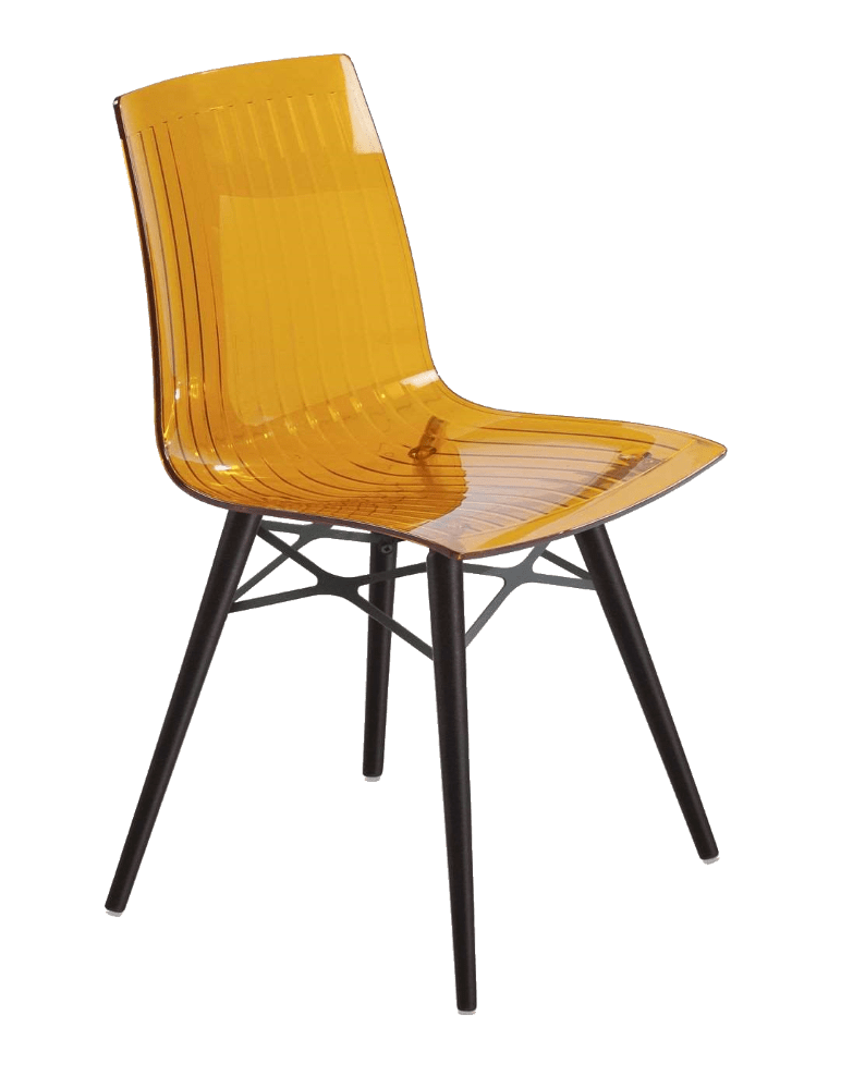 Стілець Papatya X-Treme S Wox прозоро-помаранчевий, ніжки бук венге лак