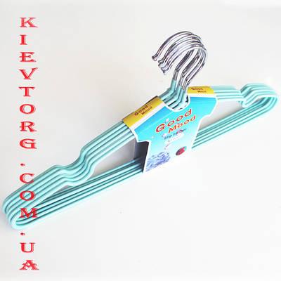 Плечики металические в силиконовом покрытии , длина 41 см, Вешалки голубого цвета.