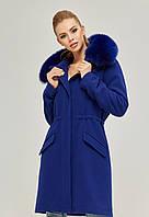 Модная парка-пальто женская зимняя с мехом в 4х цветах П-58, фото 1