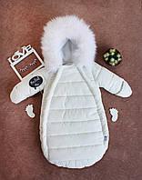 """Зимний Конверт-комбинезон c ручками для новорожденных  """"Gingle bells"""" от 0-6 мес, белый"""