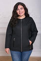 Черная демисезонная куртка больших размеров Лика