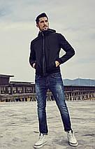 Демисезонная мужская черная куртка с капюшоном, фото 2