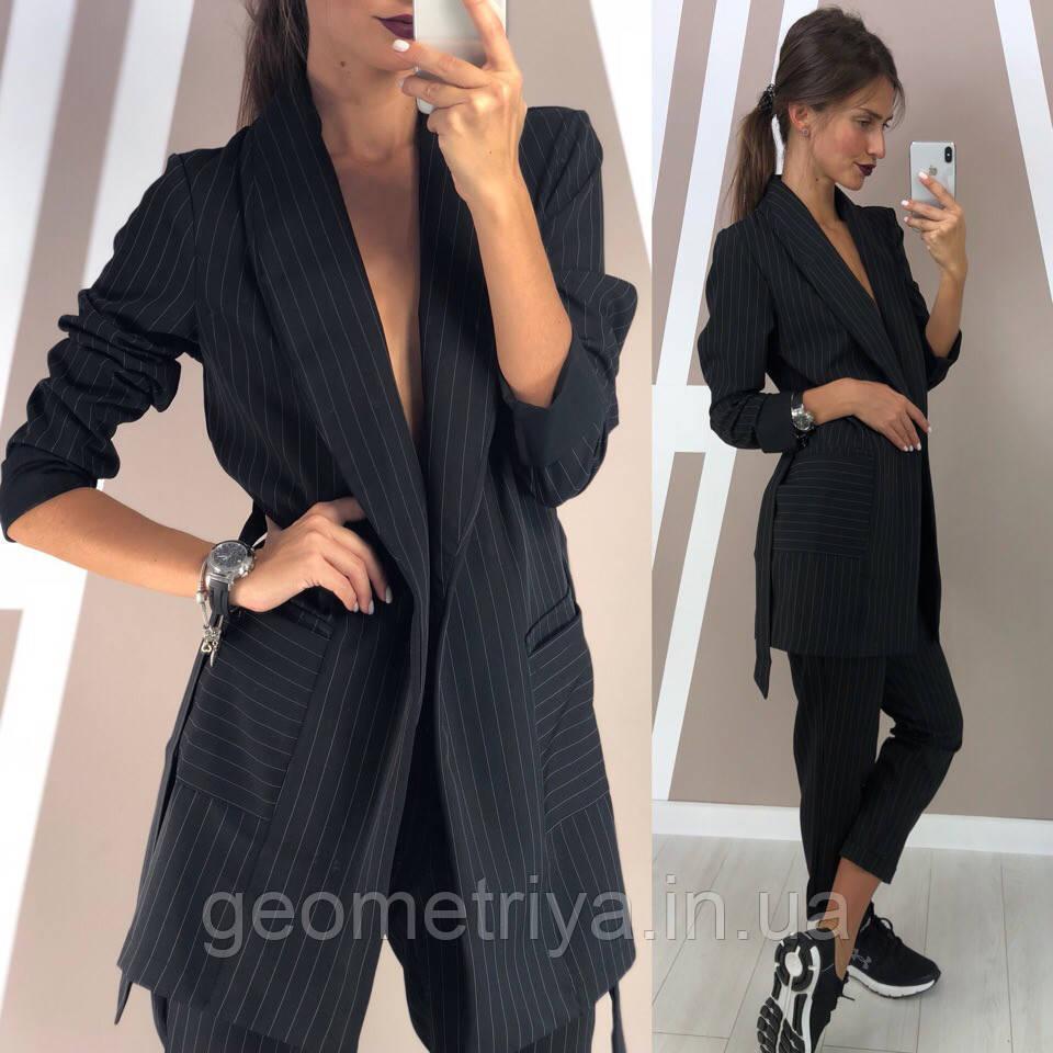 167197b46c7 Женский брючный костюм в полоску черного цвета - Интернет-магазин Геометрия  в