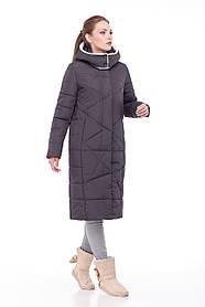 Модный зима 2019 зимний Пуховик пальто  длинное больших размеров ЕНОТ 42-56