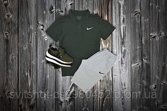 Комплект Поло + шорты Nike, черный - серый