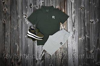 Комплект Поло + шорты Reebok, черный - серый