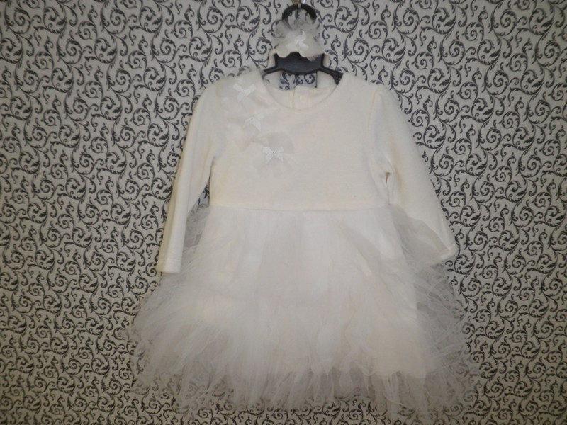 """Платье """"Облачко"""" ТМ Happу ToT размер 62,68,74,80 молочный велюровый"""