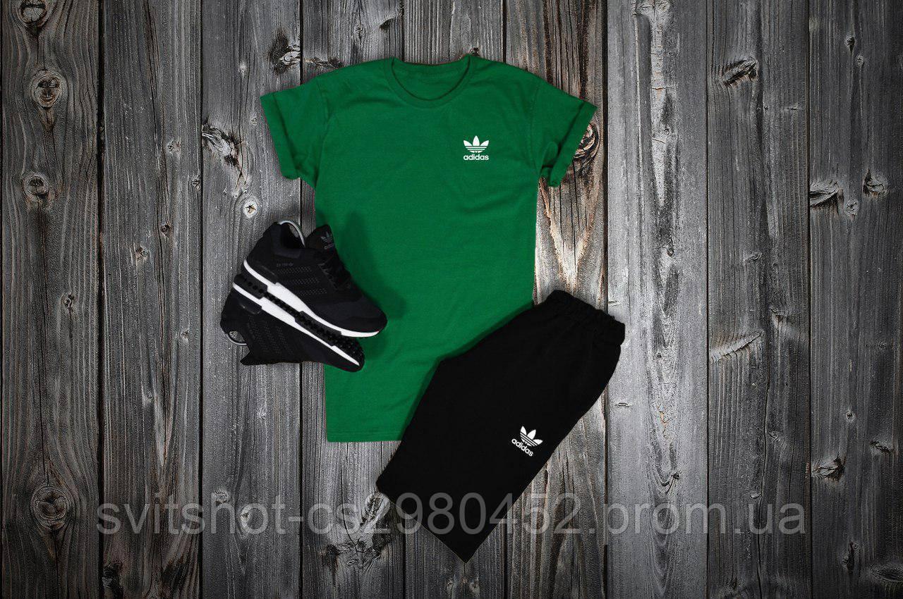 Комплект футболка + шорты Adidas, зеленый - черный