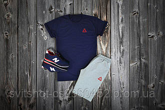 Комплект футболка + шорты Reebok, темносиний - серый