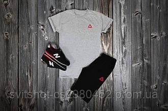 Комплект футболка + шорты Reebok, серый - черный