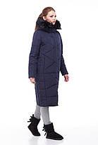 Женский зимний Пуховик пальто  длинное больших размеров МЕХ ЕНОТА 42-56, фото 3