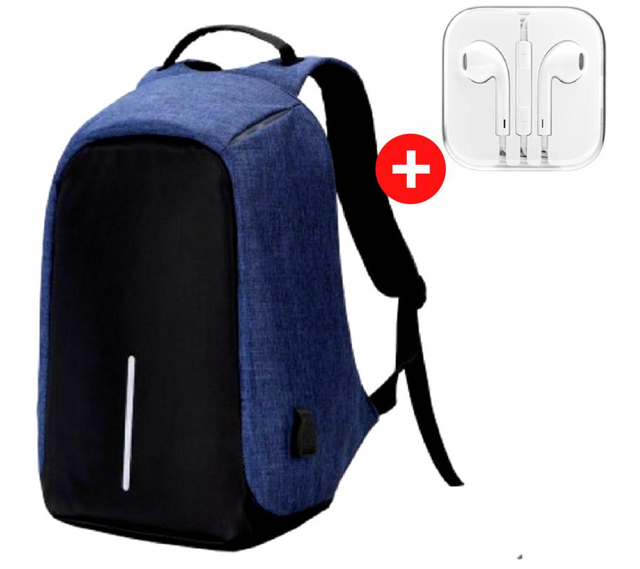 Міський рюкзак для ноутбука Bobby протикрадій c USB зарядним пристроєм Синій, Blue
