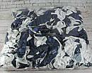 Об'ємна атласна гумка для волосся d 10 см синя з білим 10 шт/уп, фото 2