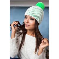 стильная  шапка с бубоном  и ажурной вязаной сеткой