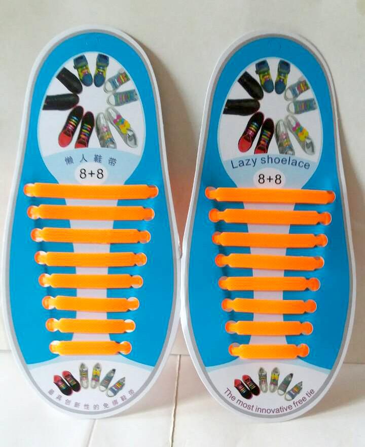 Силиконовые шнурки 8+8 16шт/комплект оранжевые