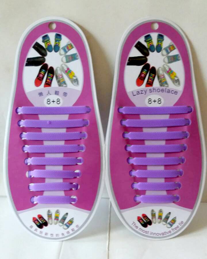 Силиконовые шнурки 8+8 16шт/комплект фиолетовые