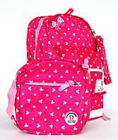Качественный школьный рюкзак для девочки с пеналом и сумочкой 8325