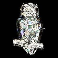 """Красивая серебряная брошь- подвеска """"Совушка"""" с  галиотисом"""