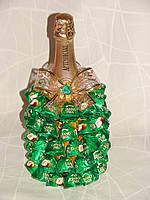 """Новогоднее шампанское с конфетами""""Елочка из конфет гранд-прикс""""зеленая"""