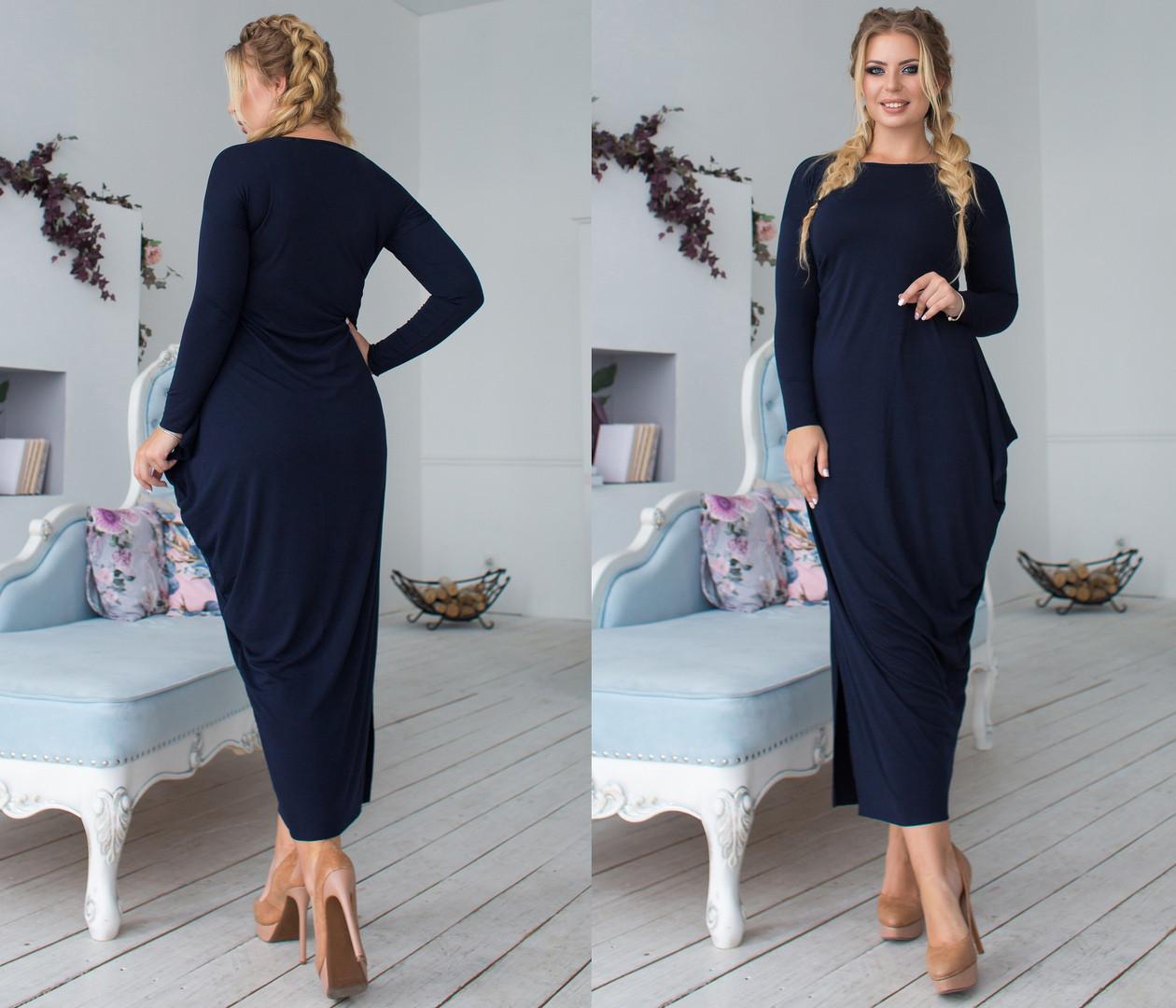 Длинное асимметричное женское платье с разрезом сбоку  +цвета. Размеры : 48,50,52,54