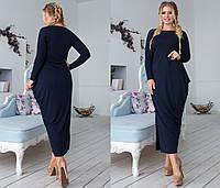 Длинное асимметричное женское платье с разрезом сбоку  +цвета. Размеры : 48,50,52,54, фото 1