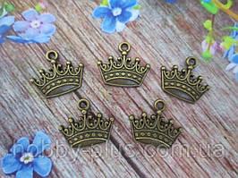 """Металевий декор, підвіска """"Корона"""", (колір бронза) 15х18 мм, 5 шт"""
