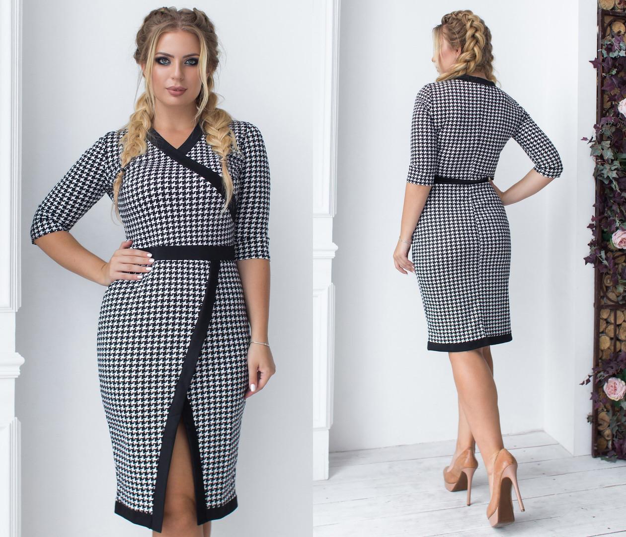 baa0c935eb1 Элегантное облегающее черно-белое женское платье-миди. Размеры   48 ...