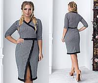 Элегантное облегающее черно-белое женское платье-миди. Размеры : 48,50,52,54