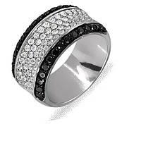 Кольцо из белого золота с бриллиантами и сапфирами, размер 18.5 (003039)