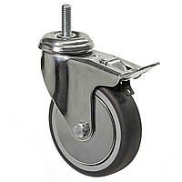 Аппаратные колеса поворотные с резьбой и тормозом на серой резине диаметром 100 мм