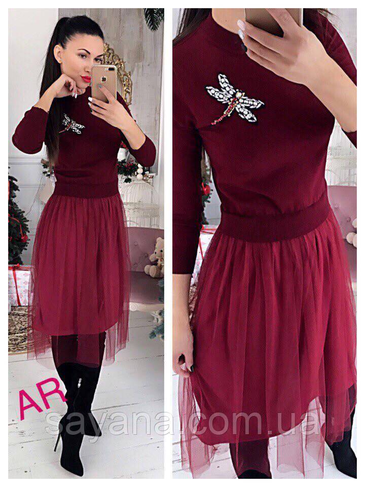 Женское платье с фатиновой юбкой и брошью, в расцветках. АР-10-0818