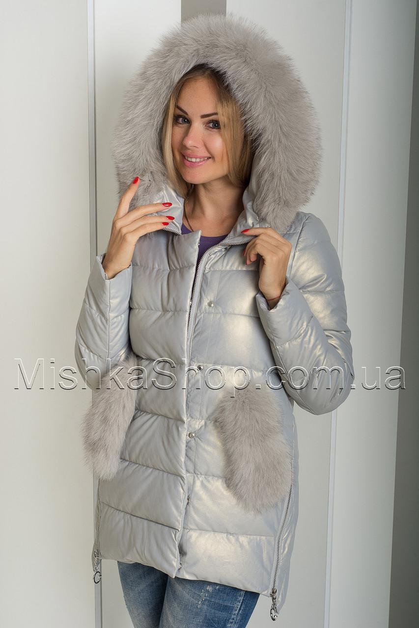 Красивый зимний пуховик-куртка из экокожи ZL.YA (ZLLY) 18507 с натуральным мехом песца цвета жемчуг