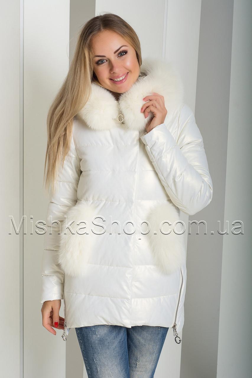0d25d28b273 ... Красивый зимний пуховик-куртка из экокожи ZL.YA (ZLLY) 18507 с  натуральным ...