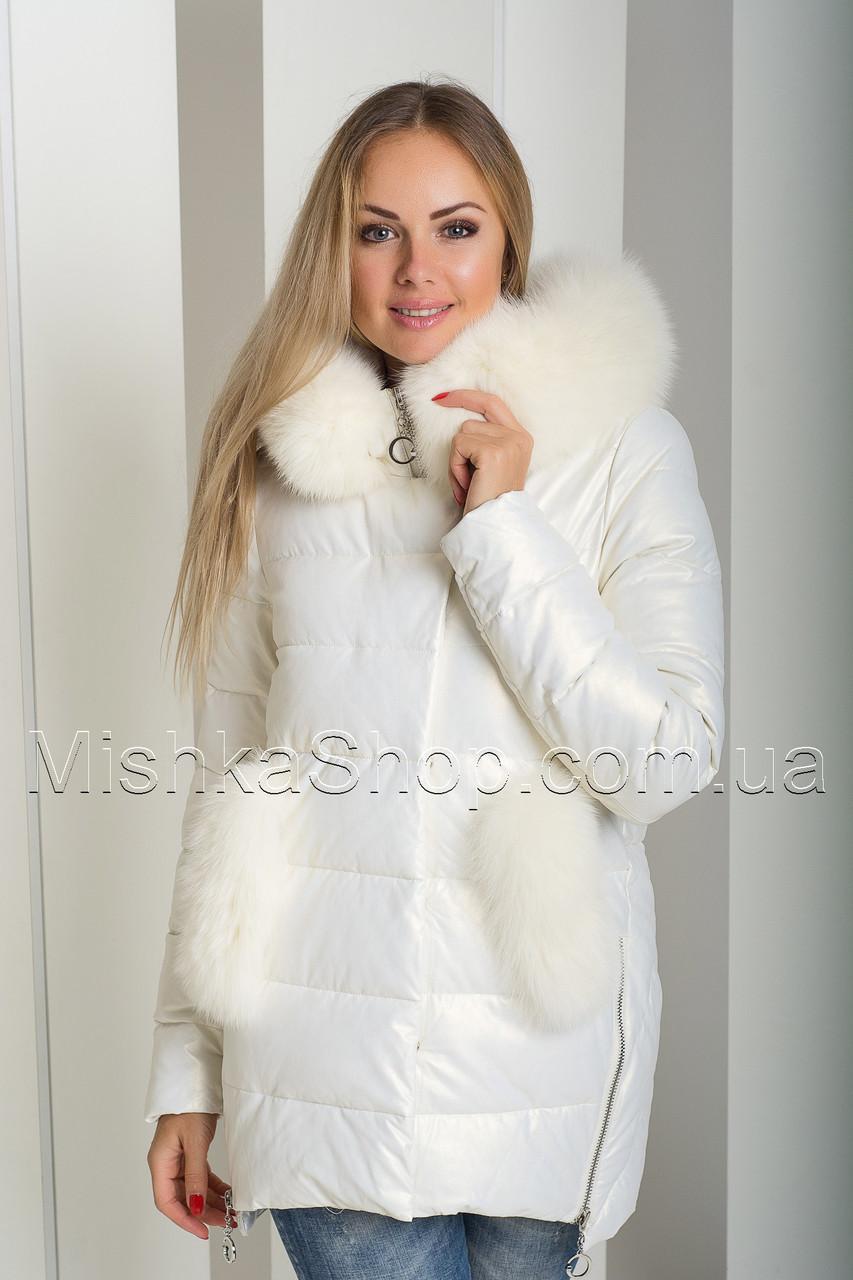 Красивый зимний пуховик-куртка из экокожи ZL.YA (ZLLY) 18507 с натуральным мехом песца цвета молочный