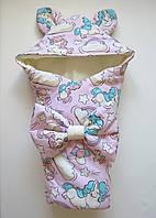 """Демисезонный конверт-одеяло на выписку """"Единороги"""" розовый"""