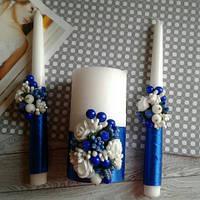 Свічки для вінчання 3шт - синій колір