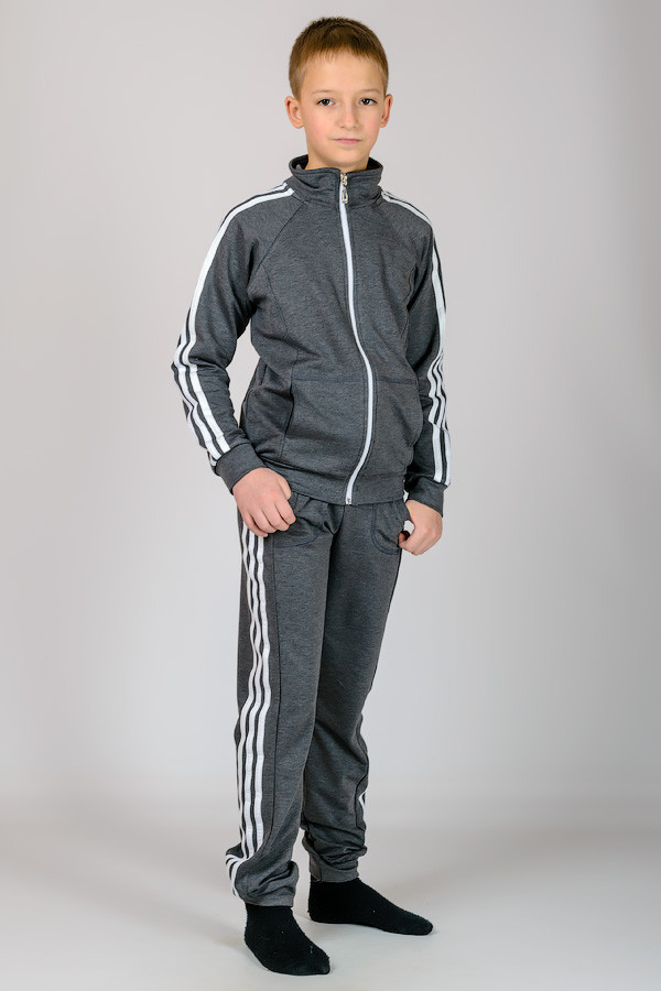 Детский спортивный костюм для мальчиков серый демисезон трикотажный