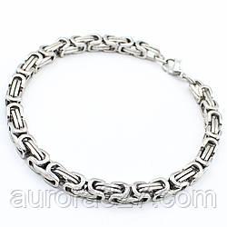 """Мужской браслет """"William"""" из медицинской стали под серебро L-22 см"""