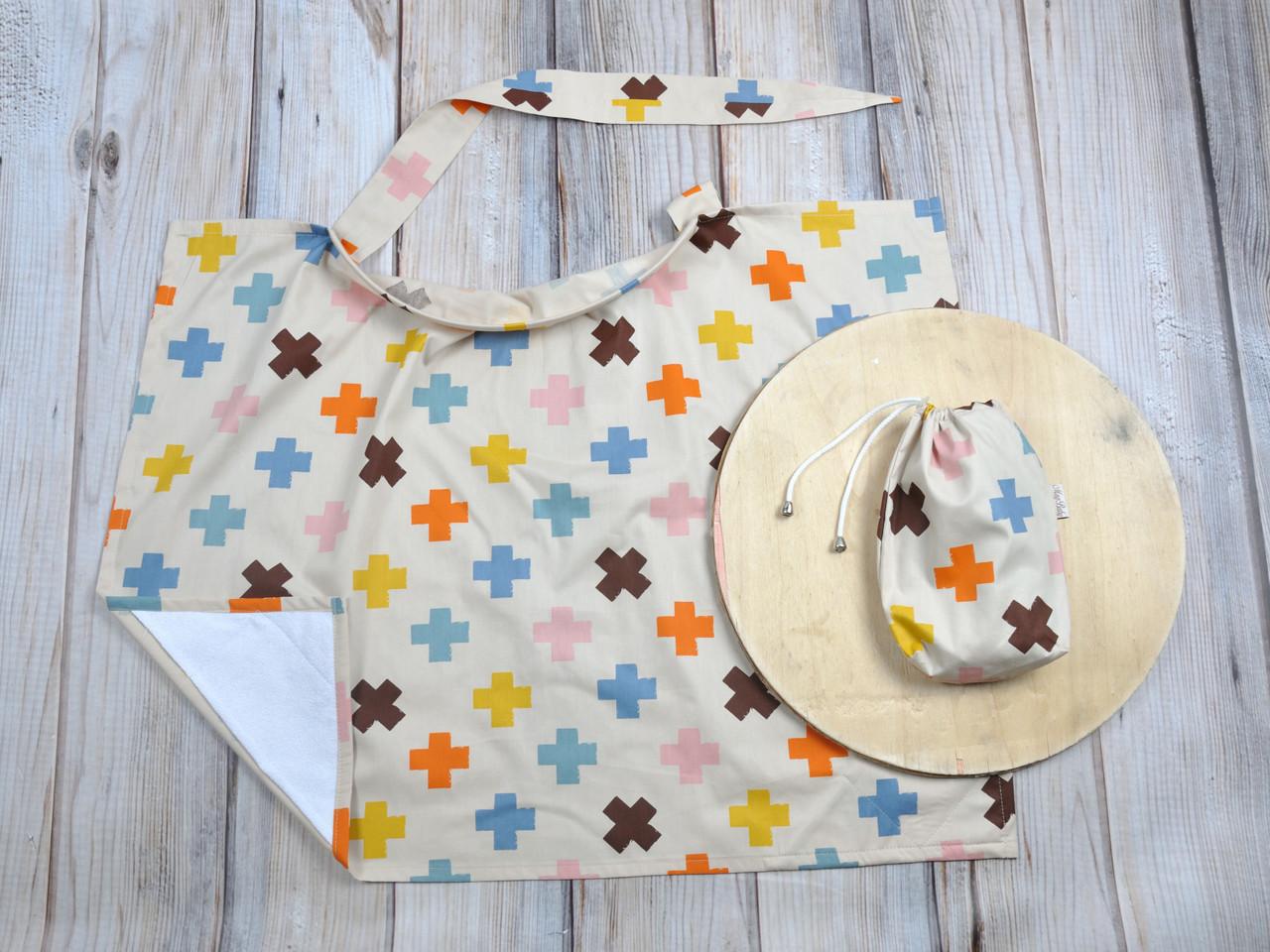 Накидка для кормления + сумочка-чехол, Плюсики