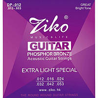 Струны акустической гитары фосфорная бронза (12-53) ZIKO DP-012