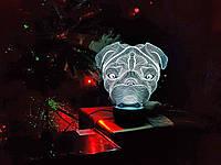 """Детский ночник - светильник """"Мопс"""" 3DTOYSLAMP, фото 1"""