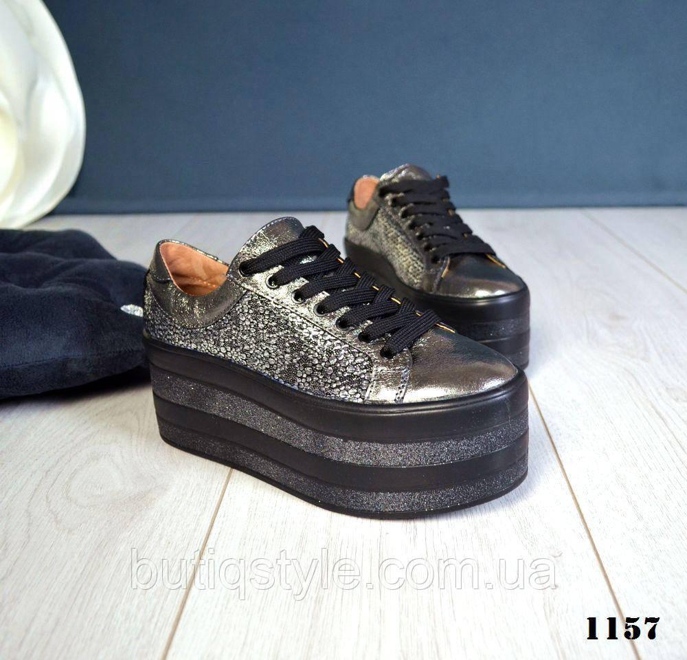 40 размер! Женские кожаные кроссовки никель на платформе натур.кожа