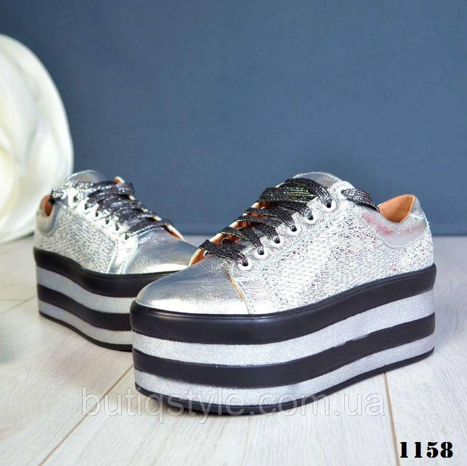 733b8b70 37, 39, 40 размер! Женские кожаные кроссовки серебро на макси ...